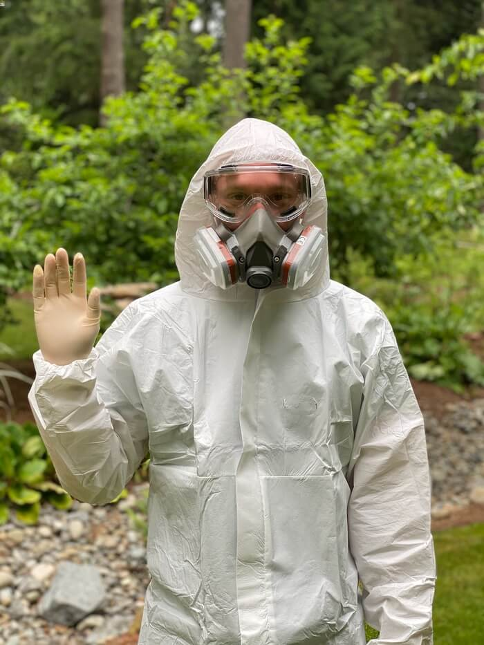 Nathan Pavy in pest control gear